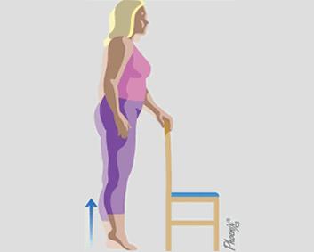 Ilustração de exercício com auxílio de cadeira: importância da atividade física nos quadros de osteoartrite