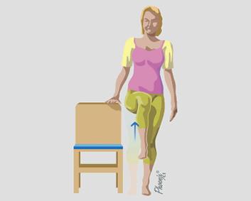 Exercício de levantamento de perna, com apoio