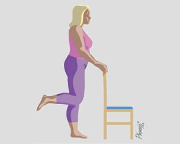 Exercício de flexão de perna para trás, com apoio.