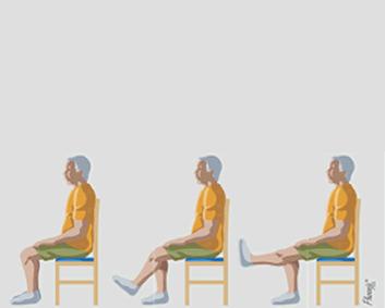 Exercício de flexão de perna frontal, sentado