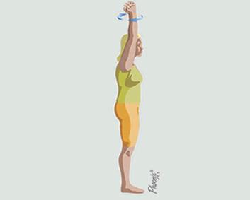 Exercício de rotação dos braços acima da cabeça