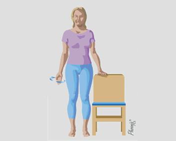 Exercício de rotação com os braços para baixo